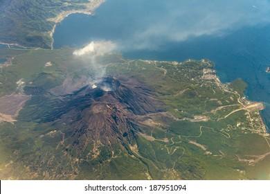 Bird eye view of Sakurajima volcano
