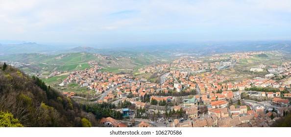Bird eye view of San Marino, Panorama view from fortress