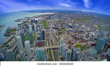 Bird eye view skyscraper of Toronto City, Canada