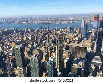 Bird eye View of skyscrapers and downtown Manhattan, New York City, and New Jersey across the Hudson River, United States of America