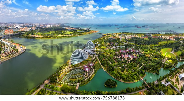 Bird eyes view of Singapore City skyline in Singapore.
