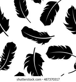 Bird Feather Hand Drawn Seamless Pattern Background  Illustration.