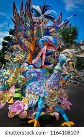 Bird float of colorful feathers in Junkanoo, festival in Nassau.