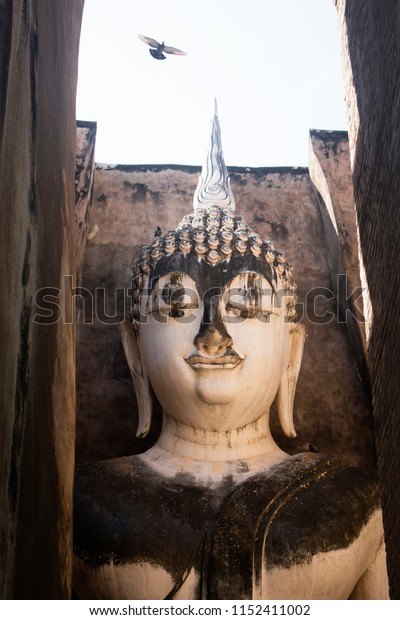 Bird flying above buddha statue in Wat Si Chum. Sukhothai Historical Park, Thailand