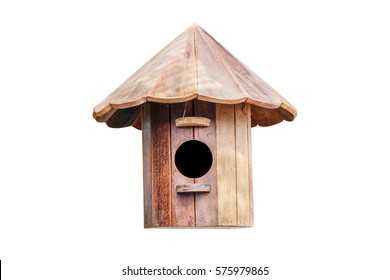 Bird house made of wood on white background