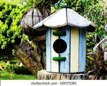 bird house with natural green leaves background