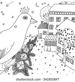 Bird looking on town. Hand drawn illustration.