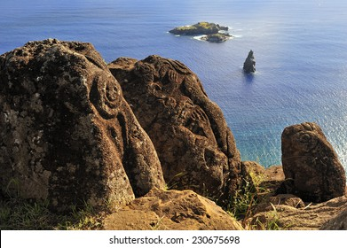 Bird Man Island and Polynesian carvings, Easter Island, Chile