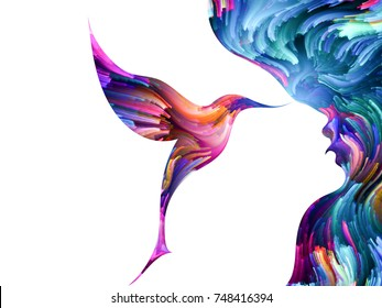 Bird of Mind series. Visually pleasing composition of woman and bird profile executed with colorful paint for works on creativity, imagination, spirituality and art
