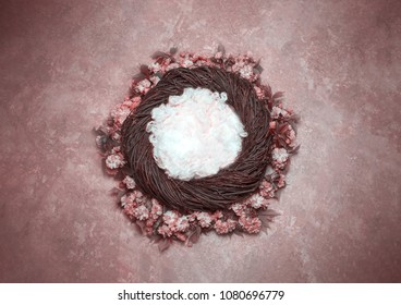 Bird Nest Fantasy Background Photo Prop with vine and flowers Isolated on pink rose color. Newborn photography digital background prop.
