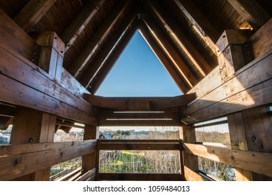 Bird observation tower interior at Lagoon park of Pateira de Fermentelos, Portugal.