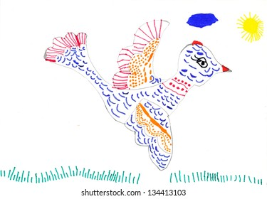 bird on meadow. child's drawing