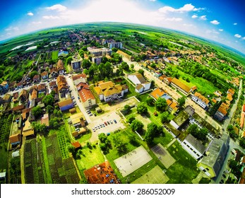 Bird perspective of village. View from the top. Fisheye lens.