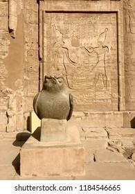 Bird statue and hieroglyphs at Temple of Edfu in Egypt