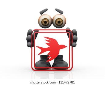 bird symbol on a white background