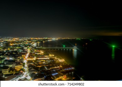Bird View of buildings in Hua Hin City at night, famous tourist attraction in Thailand