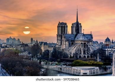Bird view of the cathedrol Notre de Paris sunset in Paris, France