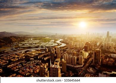 Bird view at city of shenzhen China