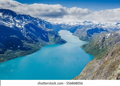 Bird view of fjord in Norway. Norway Nature Fjord