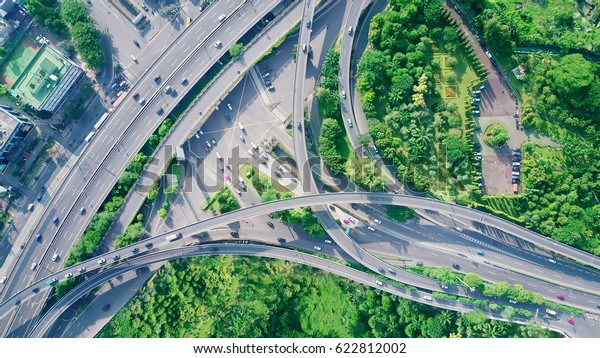 Bird view of highway intersection in the city of Jakarta, Indonesia