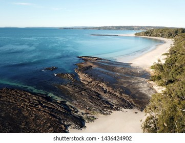 Bird view of Huskisson beach (Jervis Bay, NSW, Australia) on a sunny but cold day in winter time. View over the beach in Jervis Bay Marine Park.