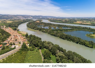 bird view of a little village at the rhone