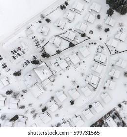 Bird view on snowy village in Willingen