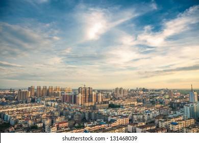 bird view over city of Fuzhou Jiangxi Province, China