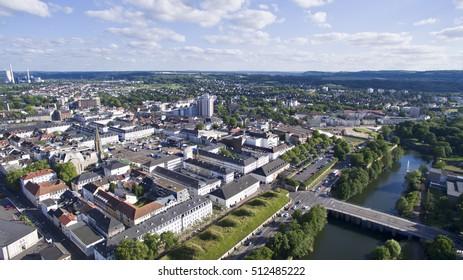 Bird view at Saarlouis Saarland City aerial view
