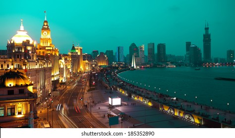Bird view at Shanghai Bund European-style buildings landscape of night