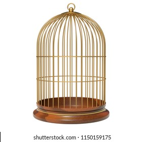 Birdcage isolated on white background