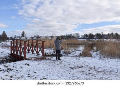 Birder by a pond in winter season by Farjestaden at the swedish island Oland