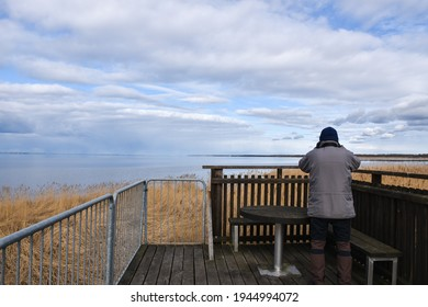 Birder observing from a platform in the reeds on the island Oland in Sweden