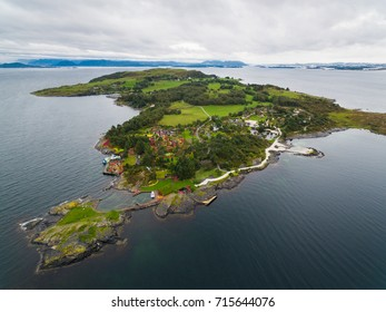 Bird-eye view of the Flor and Flaere garden, the most visible landmark in Rogaland county of Norway, inclement weather