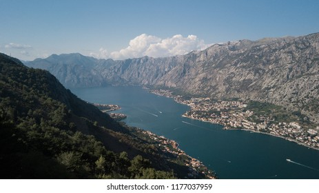 Bird-eye view of Kotor bay (Boka Kotorska) and Kotor city, Montenegro.