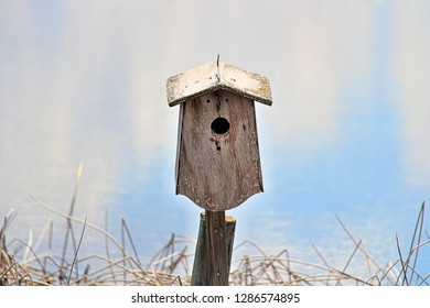 A birdhouse against a blue blurry background