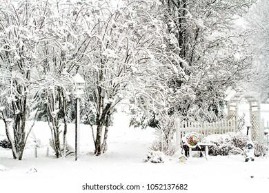 Birdhouse covered in snow during blizzard in garden