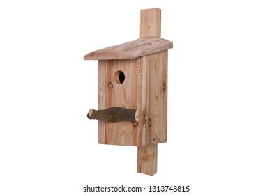 Birdhouse on a white background. Shed for birds on a white background.