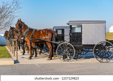 Bird-in-Hand, PA, USA - December 11, 2018:  Amish buggies and horses are parked at a supply store.