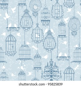 Birds and birdcages pattern. Blue colors. Can be used for wallpaper, background, fabrics.