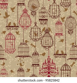 Birds and birdcages pattern. Brown colors. Can be used for wallpaper, background, fabrics.