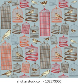Birds and cages. Seamless pattern.