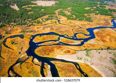 A Birds Eye Aerial View of Snaking Rivers in Yellowstone National Park
