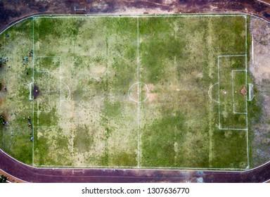 birds eye overhead view of soccer field in Guatemala