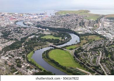 Bird's eye view of Aberdeen city shot from airplane