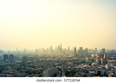 A bird's eye view of Bangkok City Skyline at sunset.