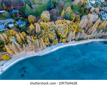 The bird's eye view of the beautiful autumn of Roys Bay in Wanaka, South Island of New Zealand.