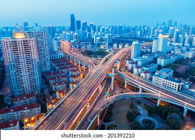 a bird's eye view of beautiful city interchange in nightfall