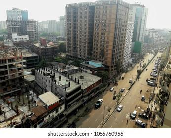 bird's eye view of the busy city dhaka, Bangladesh, 27 march 2018