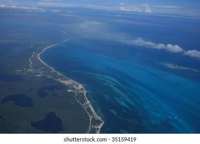 birds eye view of the Cancun shore